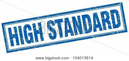 High Standard Blue Square Grunge Stamp On White