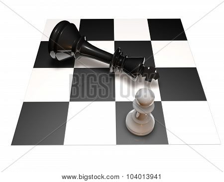 Power And Defeat Concept With Chess Pawn And Chess King On Chess Board.
