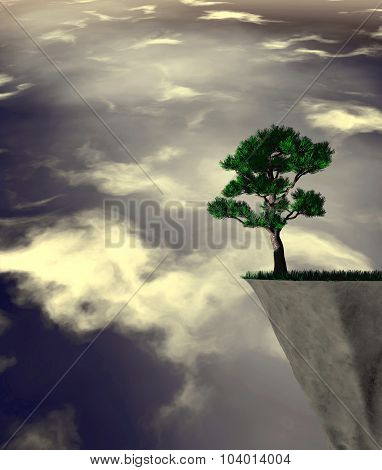 Lonely Tree Abstract Surreal Illustration With Cloudy Dark Sky.