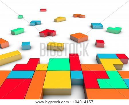 Constructing And Positioning Idea With 3D Blocks.