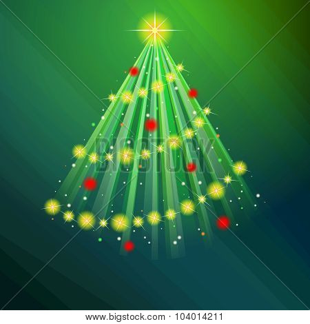 Glowing green Christmas tree illustration