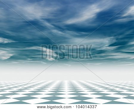 Abstract Blue Chess Background With Chess Board And Blue Sky.