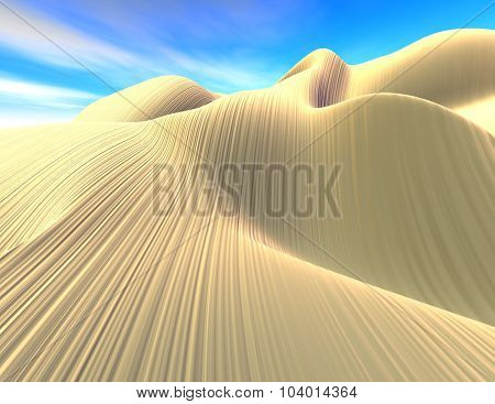 Fantasy Surreal 3D Landscape, Dunes And Blue Sky.