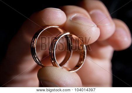 Wedding Rings In Hand Of Groom
