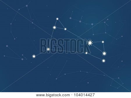 Aries vector Zodiac sign bright stars in cosmos