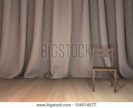 Business Presentation Background With Curtains And Empty Stage.