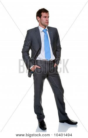 Businessman Grey Pinstripe Suit Isolated