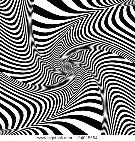 Optical illusion of torsion twisting movement. Dynamic effect. Vector art.