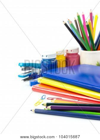 Group Of Stationery Tools On White Background