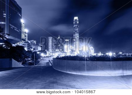 street and skyscrapers of a modern city at night