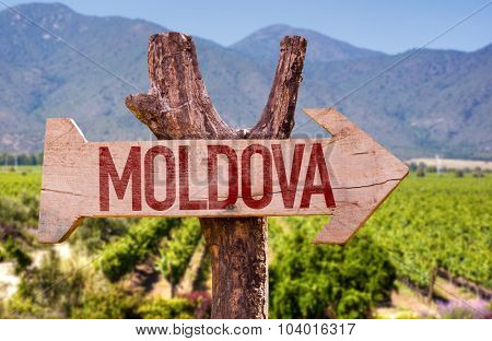 Moldova wooden sign with winery background
