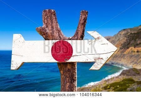 Japan Flag wooden sign with coast background