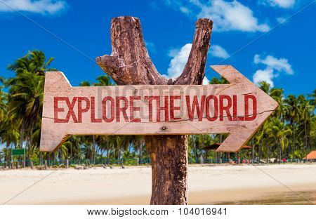 Explore the World arrow with beach background