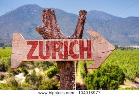 Zurich wooden sign with field background