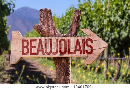 Beaujolais wooden sign with winery background