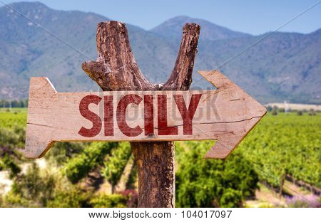 Sicily wooden sign with winery background