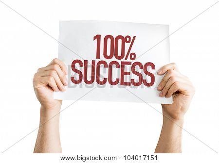 100% Success placard isolated on white