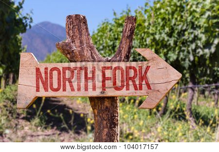 North Fork wooden sign with winery background