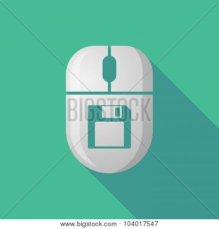 Wireless Long Shadow Mouse Icon With A Floppy Disk
