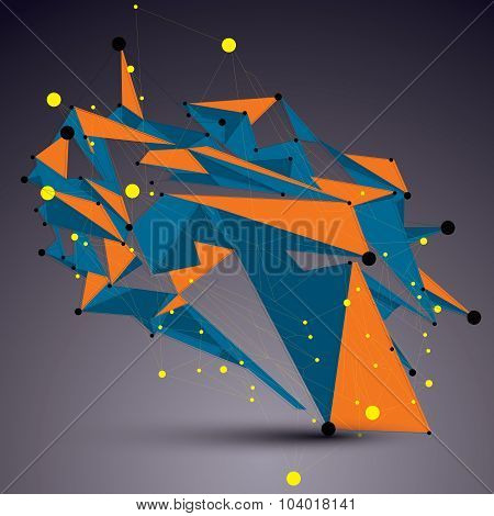 Complicated Abstract Colorful 3D Shape, Vector Bright Digital Lattice Object. Technology Theme.