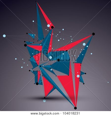 3D Vector Abstract Technology Mesh Shape, Perspective Colorful Geometric Lace Object With Wireframe.