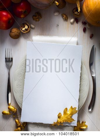 Art Happy Thanksgiving Day Dinner Invitation