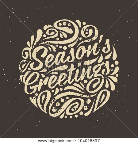 Grange Holidays greeting card with abstract doodle Christmas ball. Vector eps10 illustration. Season's greeting