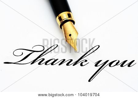 Fountain Pen On Thank You Text