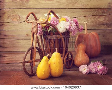 Autumn still life - Pumpkins and chrysanthemums bunch against the background of old wooden wall. Toned image