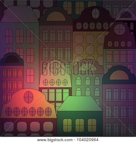 Seamless Building On The Blurred Background. Stock Vector
