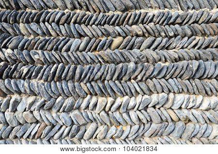 Typical Georgian stone wall, stacked zigzag