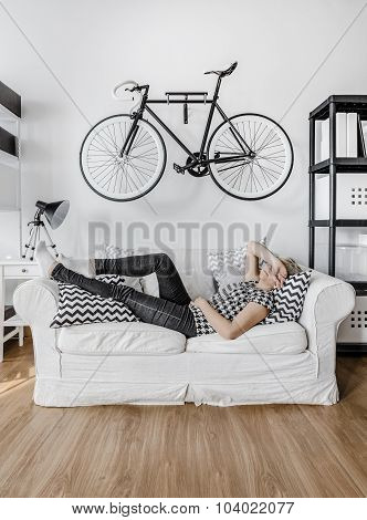 Woman Resting On The Sofa