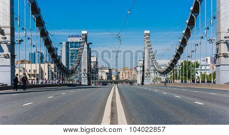 Moscow, Russia, May 9, 2014: View of the empty Crimean bridge