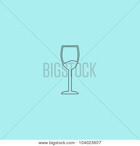 Wine Glass Vector Icon. Alcohol Drink Symbol.