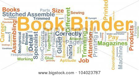 Background concept wordcloud illustration of book binder