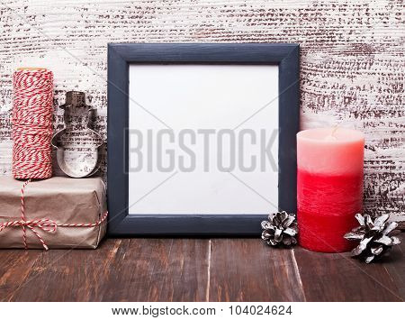 Blank Frame And Craft Style Christmas Decor.