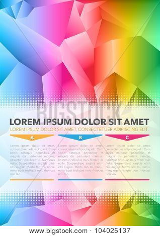 Abstract vector colored background of brochure with 3D triangles and ABC choices