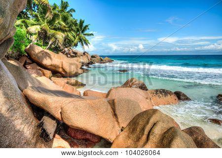 Anse Patates beach, La Digue island, Seychelles