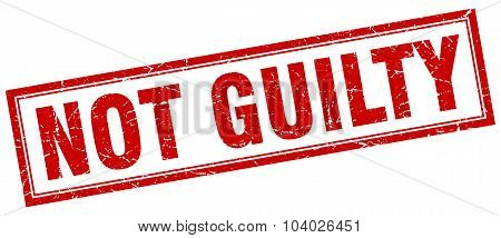 Not Guilty Red Square Grunge Stamp On White