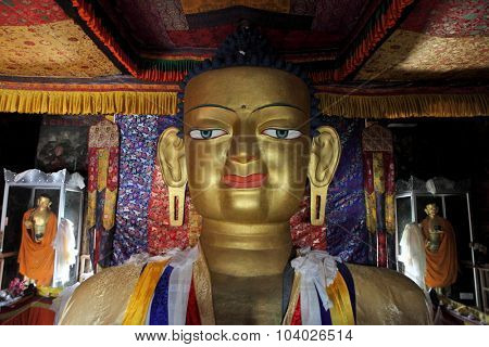 LEH, INDIA - JUNE 04: Statue of Gautama Buddha at Shey Monastery near Leh, Ladakh, Jammu and Kashmir, India. Buddha statue is a 12 metres high.