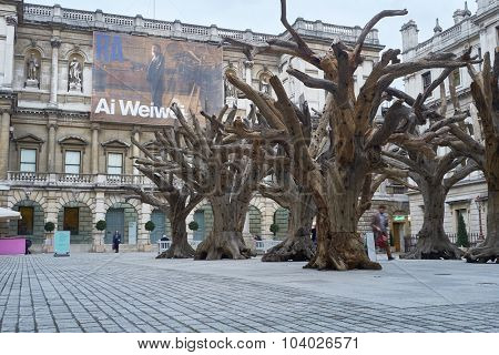 LONDON, UK - SEPTEMBER 23: Ai Wei Wei's installation 'Tree' in the forecourt of the Royal Academy of Arts. September 23, 2015 in London.