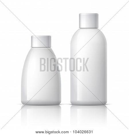 Realistic White Plastic Cosmetics Bottle