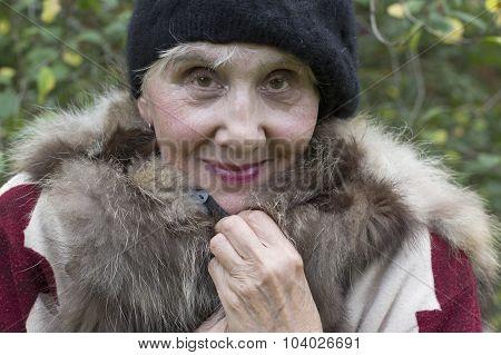 Senior Lady In Fur West
