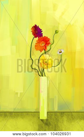 Abstract Oil Painting Of Spring Flower. Still Life Of Yellow, Pink And Red Gerbera.