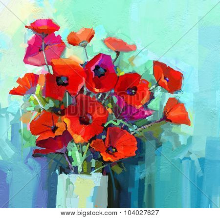 Oil Painting - Still Life Of Red And Pink Color Flower. Colorful Bouquet Of Poppy Flowers In Vase