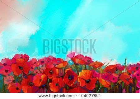 Oil Painting Colorful Red Poppy Flower In The Meadows