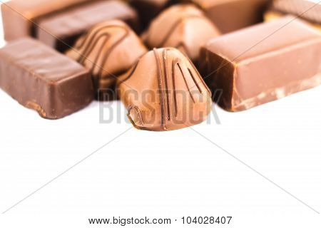 Delicious Chocolate Candy Isolated On White, With Copy Space
