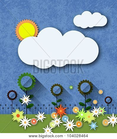 Abstract Paper Cut With Sun,cloud And Flowers On Blue Paper Texture Background