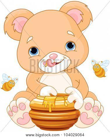 Illustration of cute bear eats honey