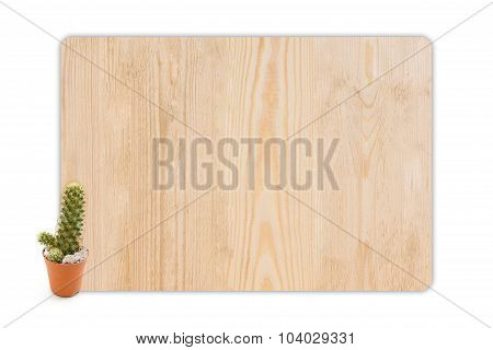 Cactus In The Small Pots On Wood Texture.